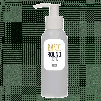 100 ml flacon Basic Round HDPE naturel + Pompe dispenser PP blanc