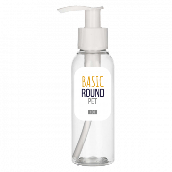 100 ml flacon Basic Round PET transparent 24.410 + Dispenserpomp PP blanc