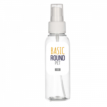 100 ml flacon Basic Round PET transparent 24.410 + Spraypump PP blanc