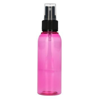 100 ml Basic Round PET rose + Pompe de spray PP noir