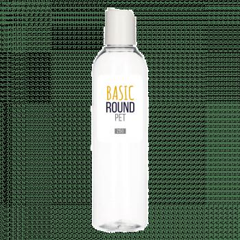 250 ml flacon Basic Round PET transparent 24.410 + Disc-top PP blanc