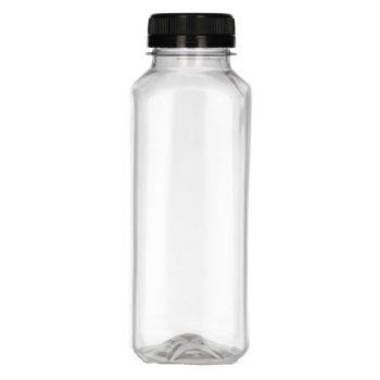330 ml Juice Square PET transparent + Bouchon de garantie Noir