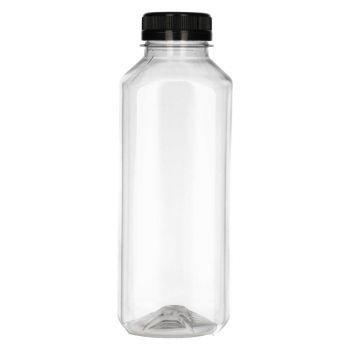 500 ml Juice Square PET transparent + Bouchon de garantie Noir