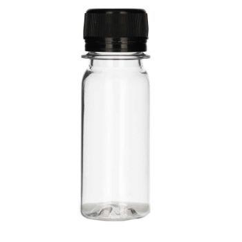 50 ml Juice mini shot PET transparent + Bouchon à visser noir